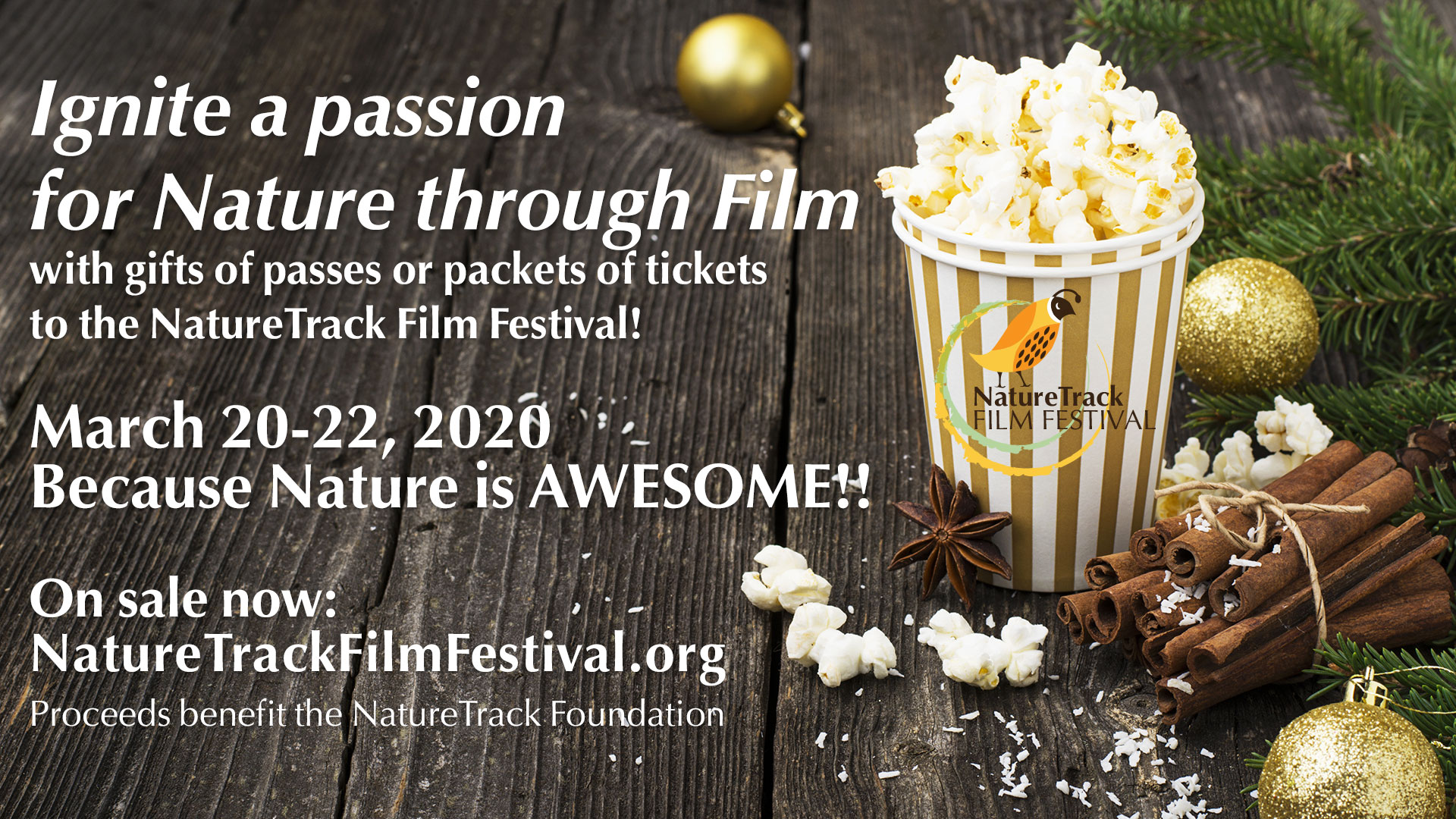 Ignite a passion for nature with your gift this year! Passes and Tickets on sale now for the NatureTrack Film Festival!