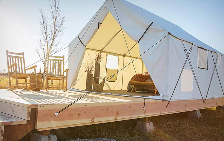 Montana Canvas 12' x 14' Luxury Glamping Tent. Retail starts at $2500. Please note: Fly with 5' extension and wood floor base are not included.